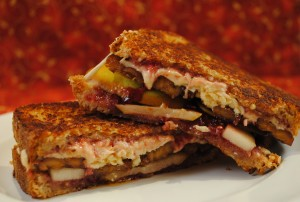 "Pear, Raspberry and ""Bacon"" Grilled Cheese"