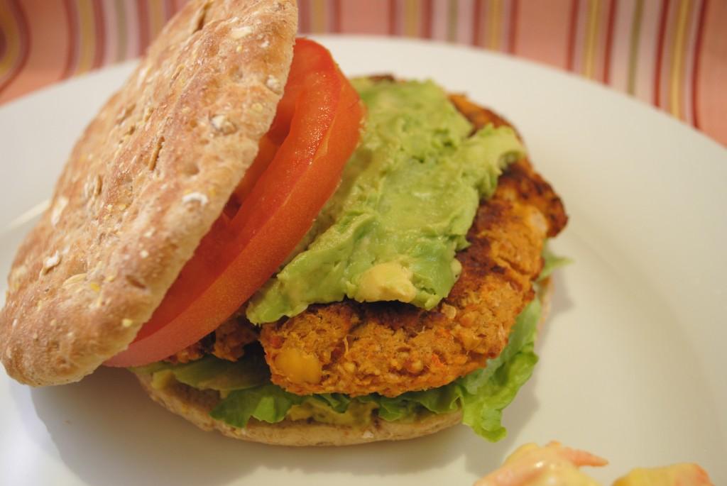 spicy vegan chickpea burger