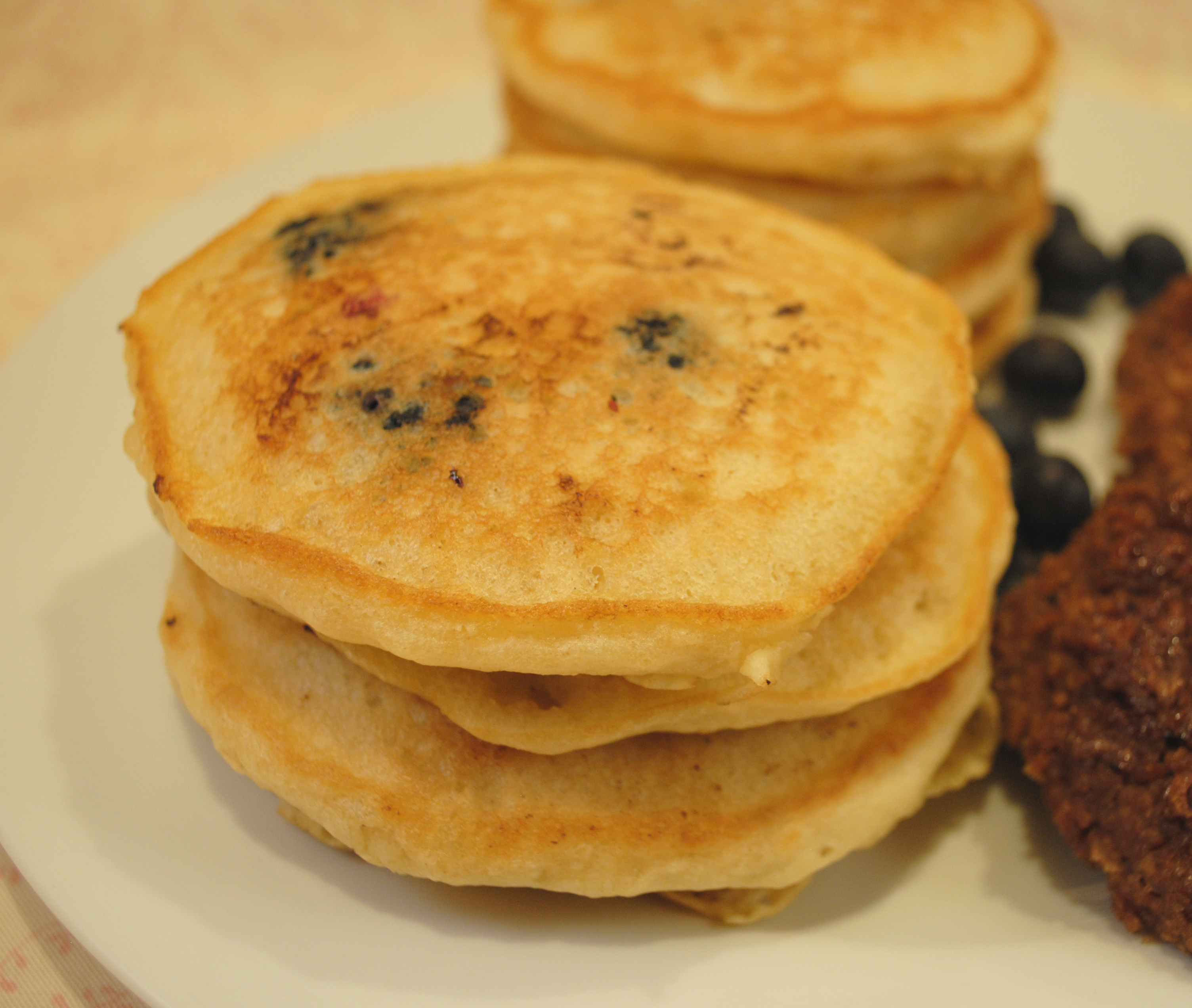 Vegan Blueberry Pancakes and Sausage