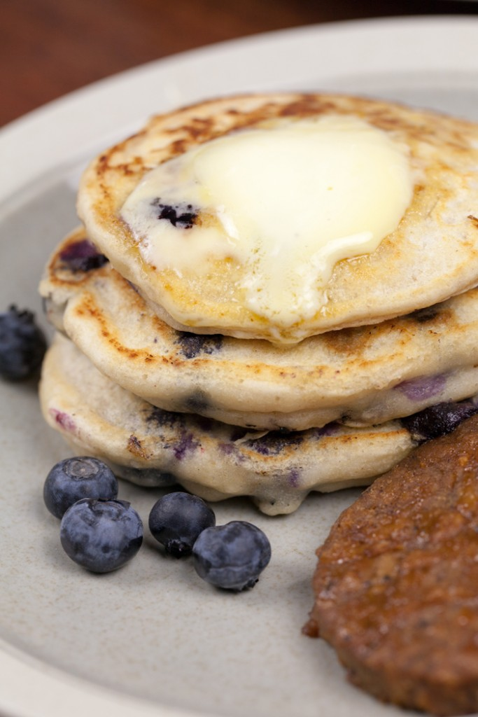 Blueberry Pancakes and Sausage | www.thatwasvegan.com