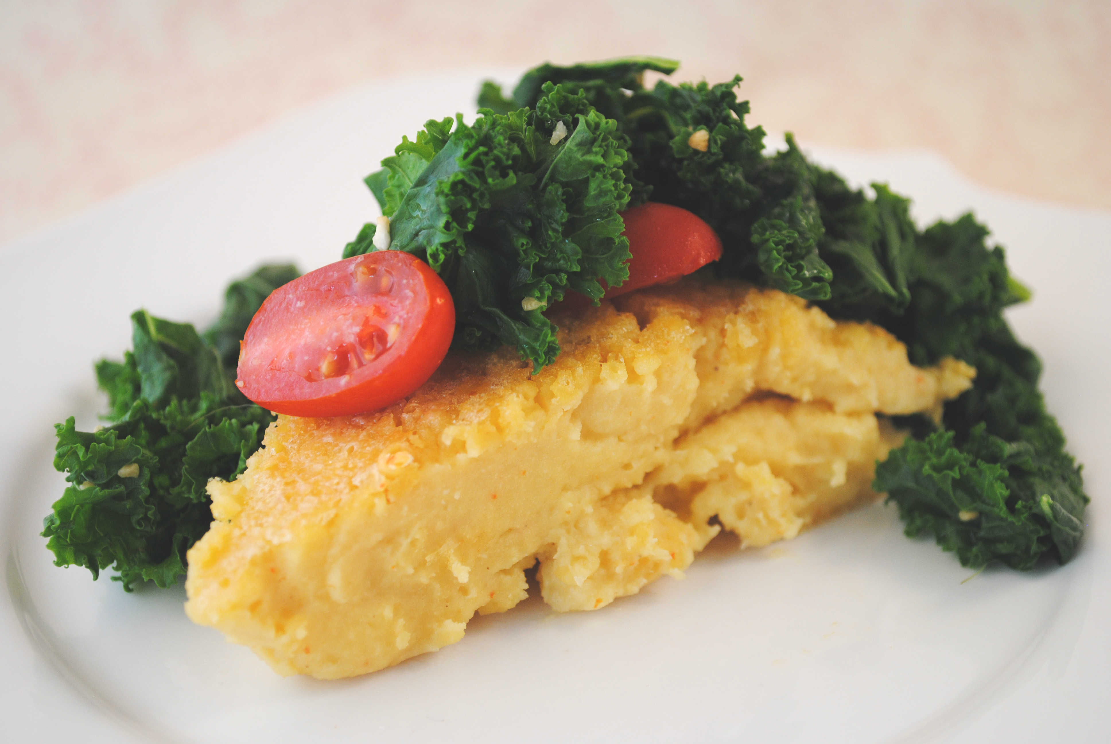 Vegan Chickpea Frittata with Kale and Tomatoes