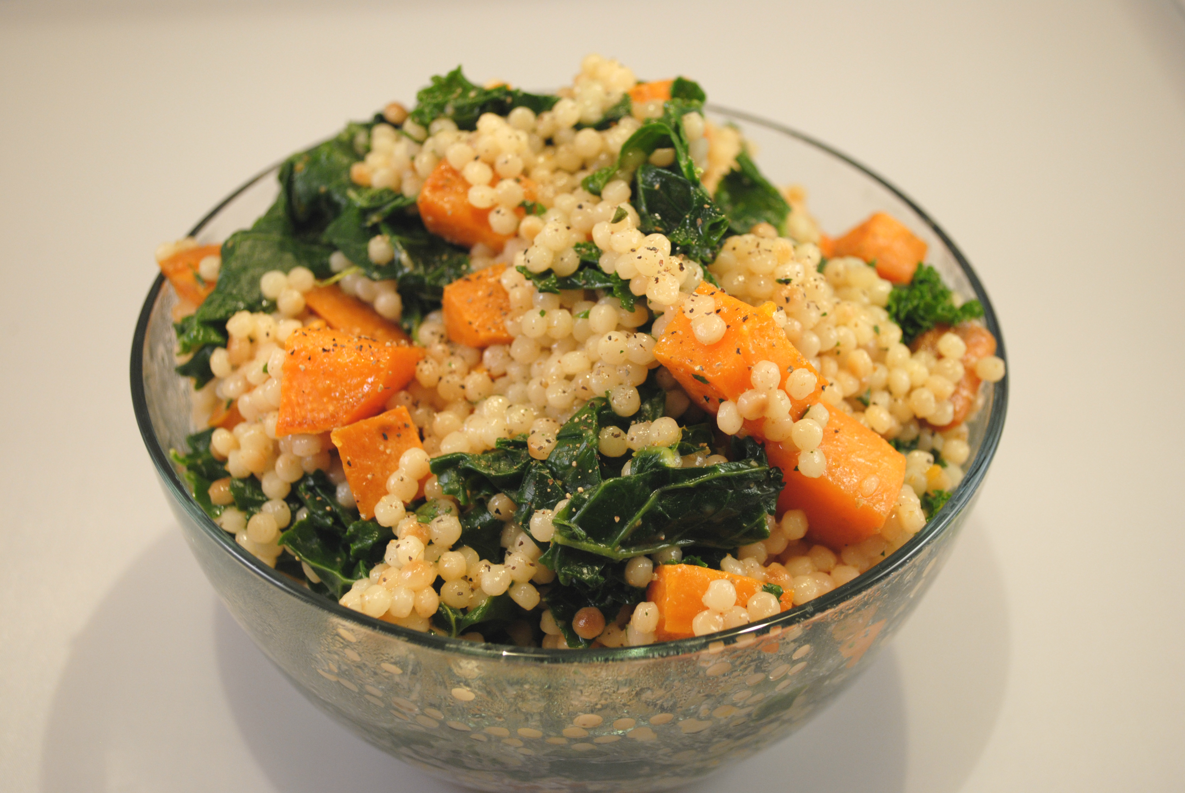 Lemon Couscous with Sweet Potatoes and Kale