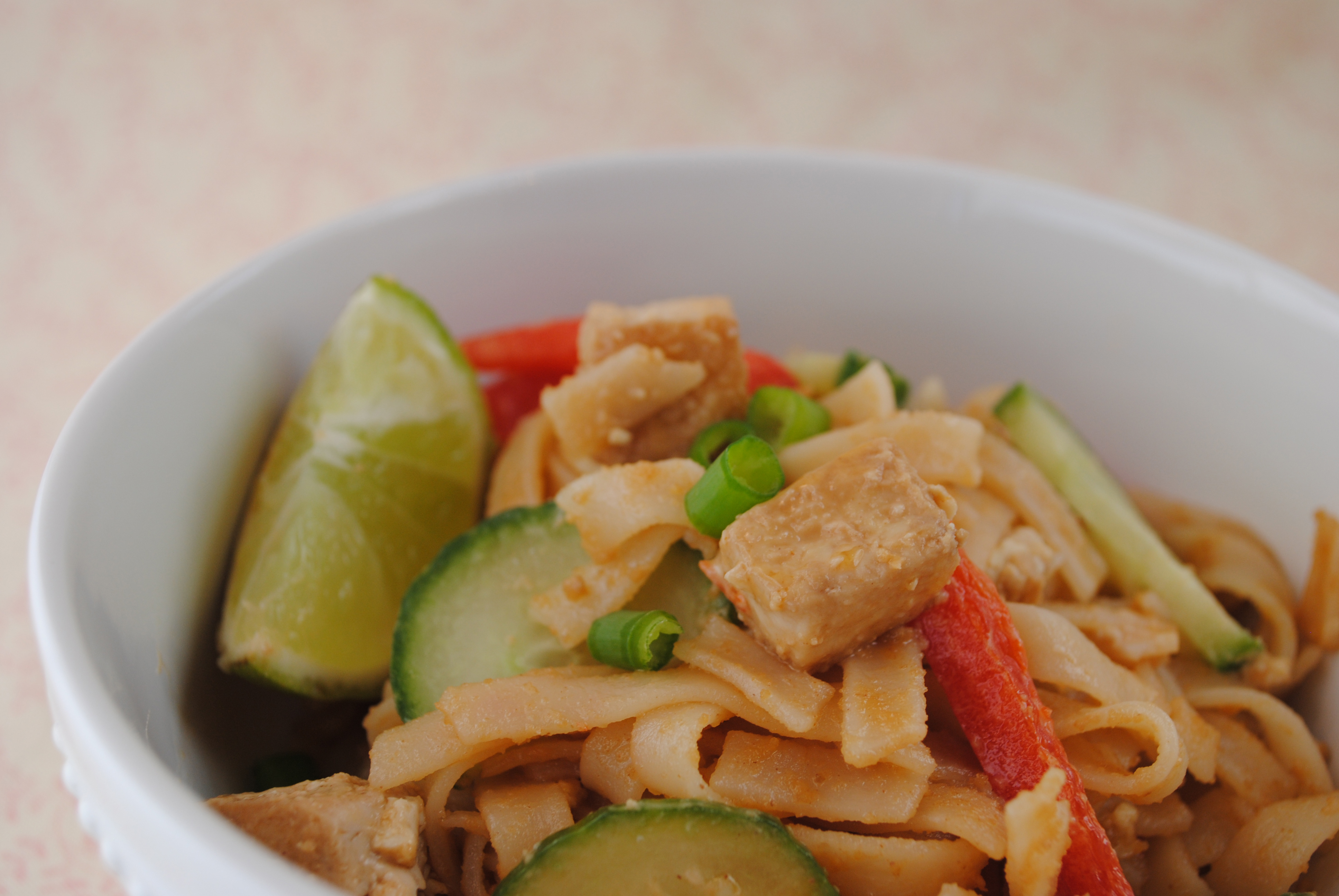 Vegan Thai Noodles and Tofu with a Spicy Peanut Sauce