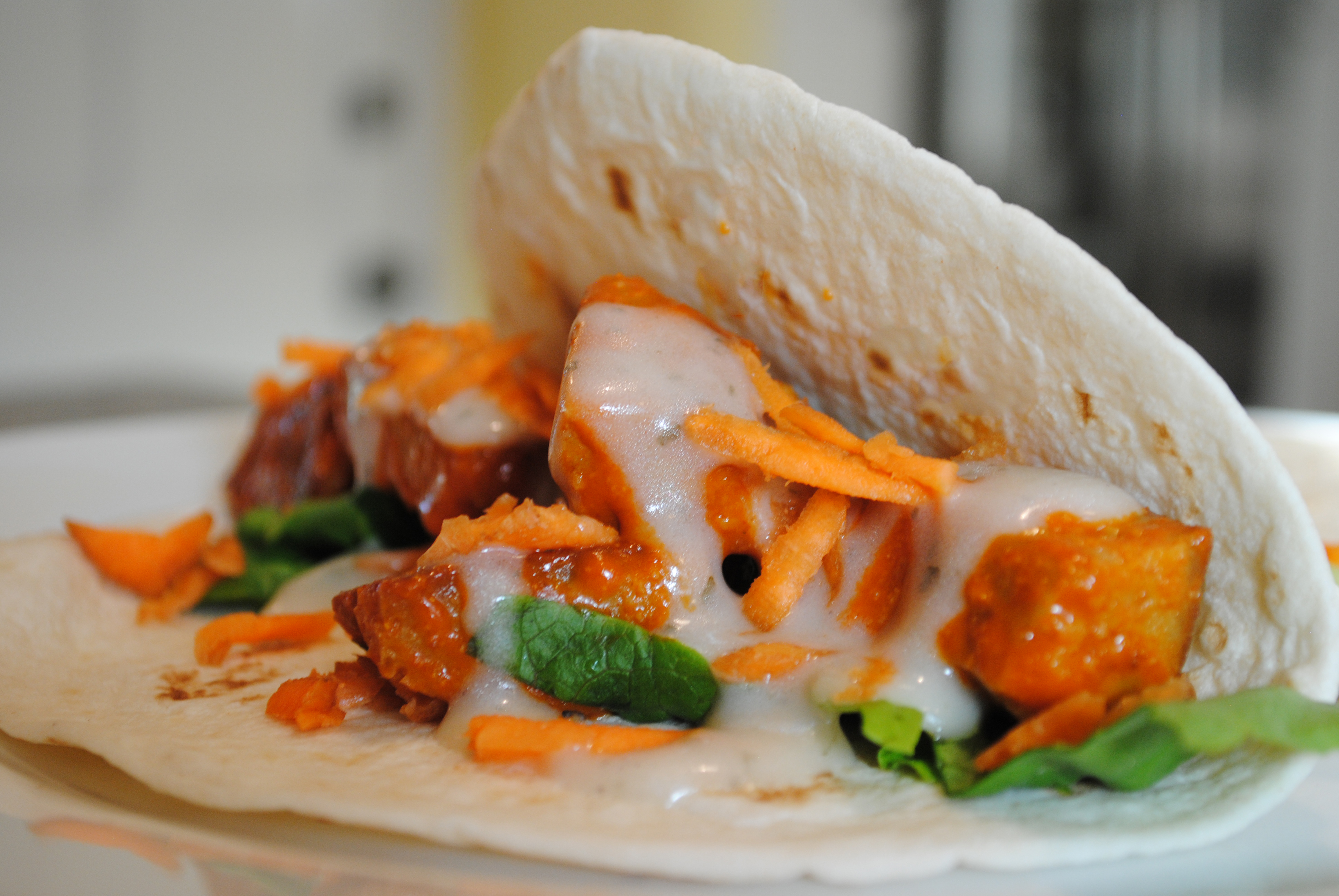 Vegan Buffalo Wing Tacos with Seitan