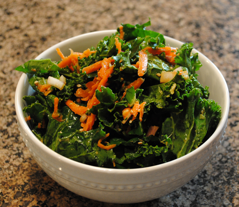 Vegan Massaged Kale Salad with Avocado and Carrots