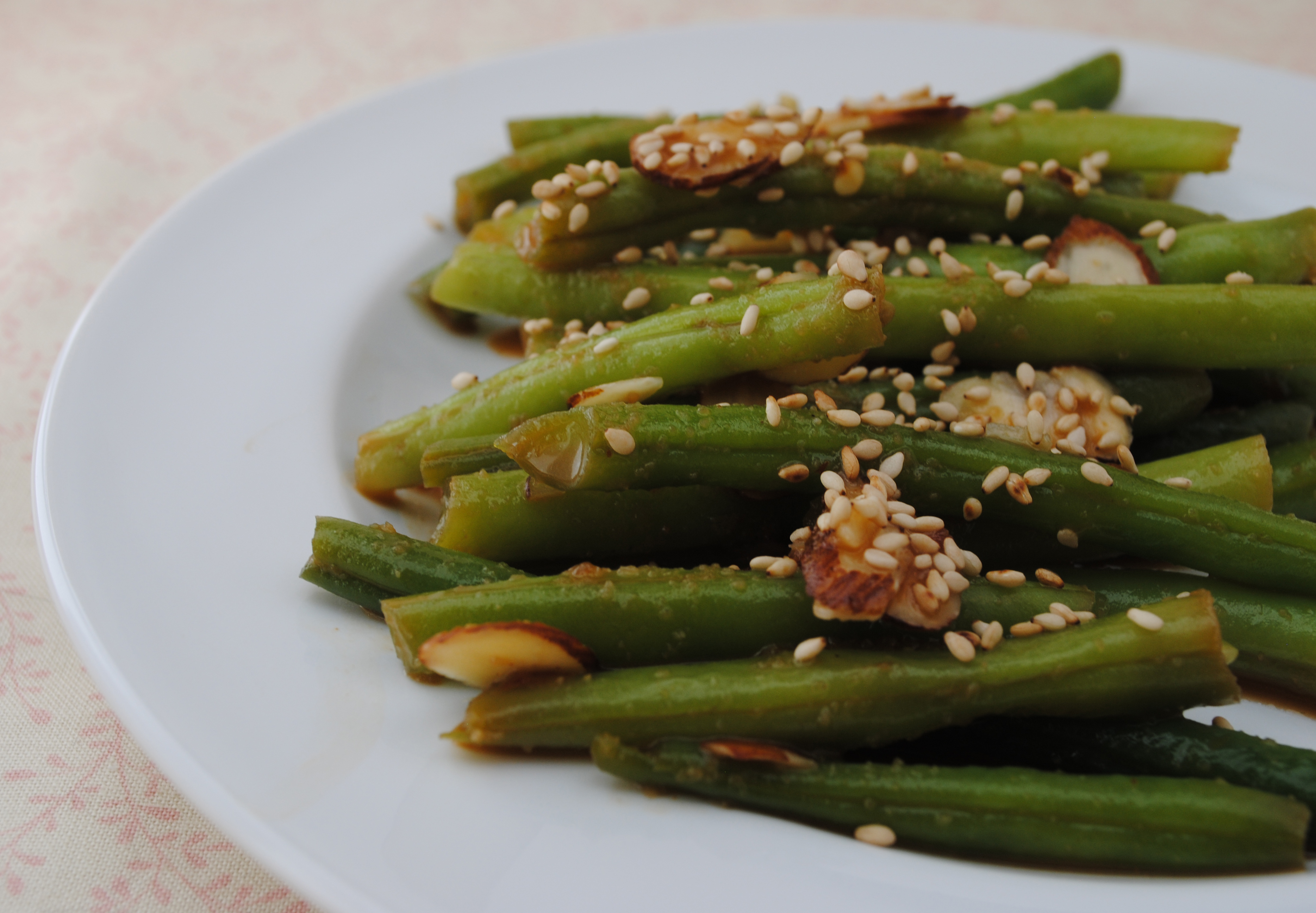 Vegan Szechuan Green Beans with Slivered Almonds