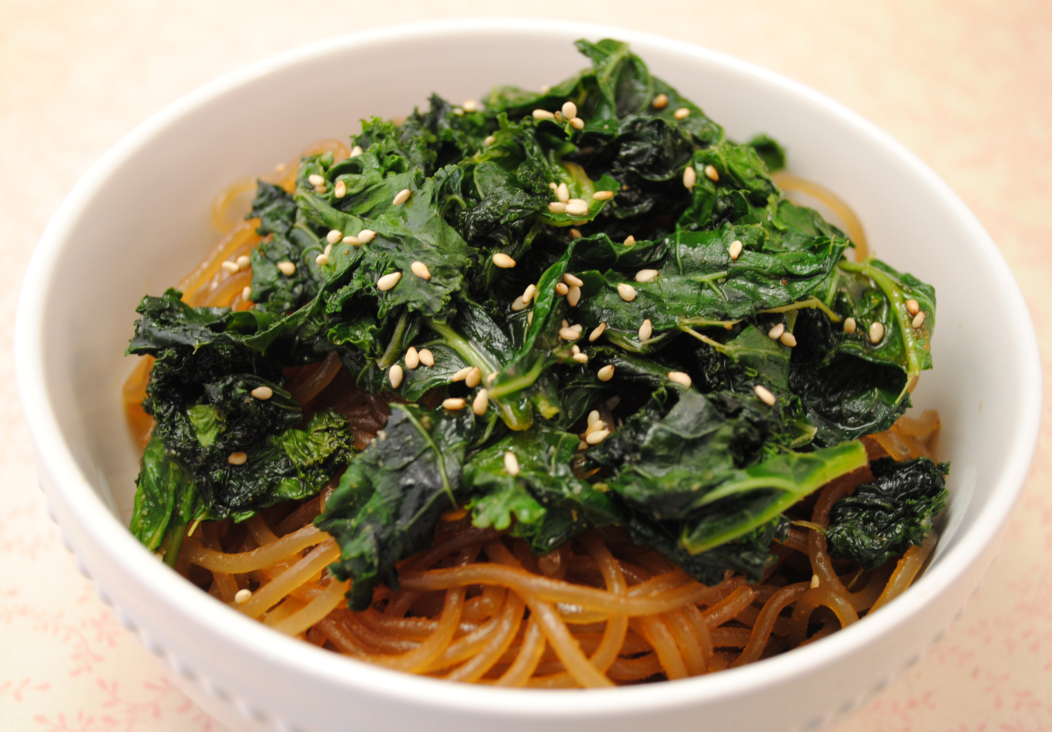 Vegan Spicy Szechuan Kale with Sweet Potato Noodles