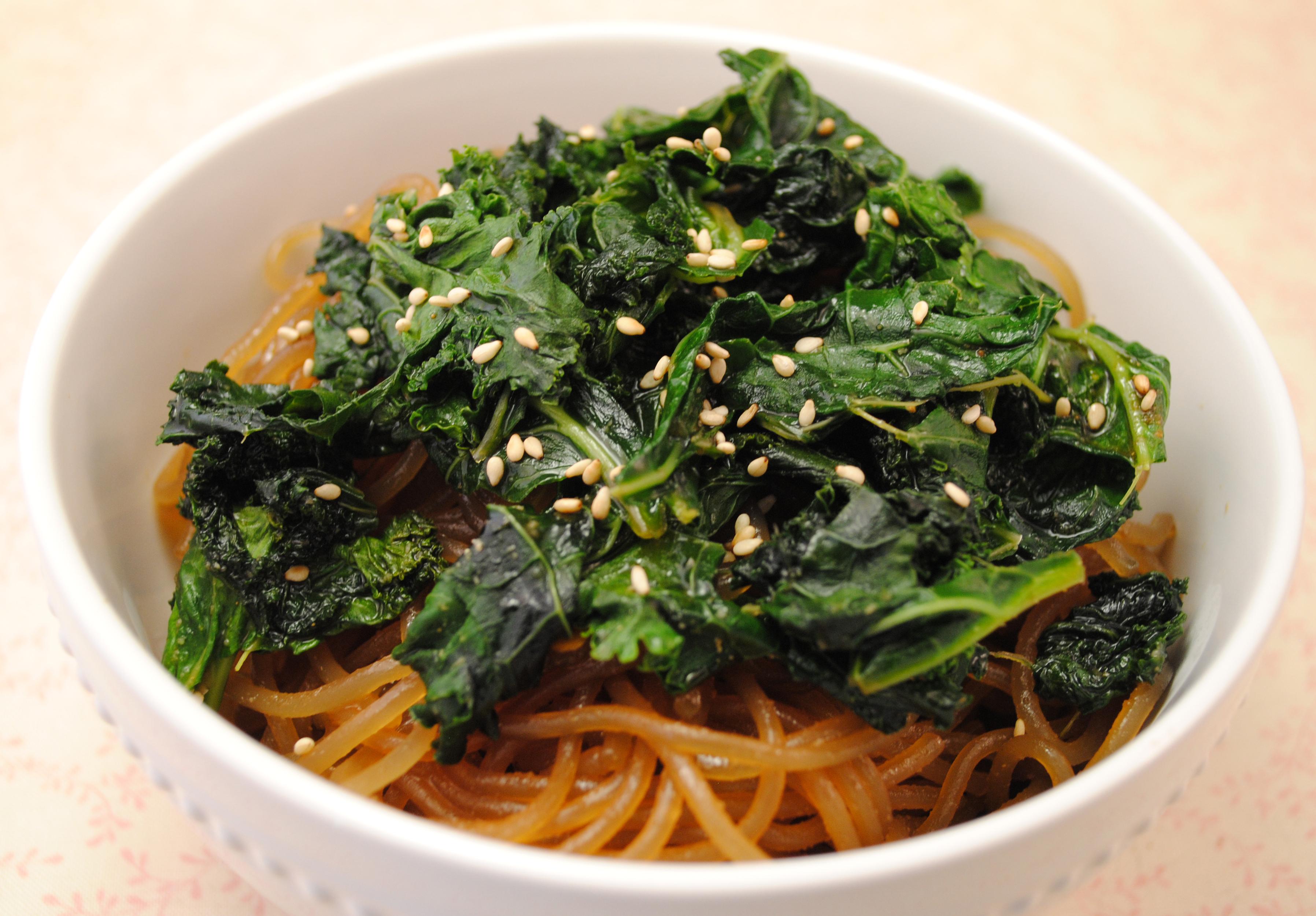 Vegan Spicy Szechuan Kale with Sweet Potato Noodles