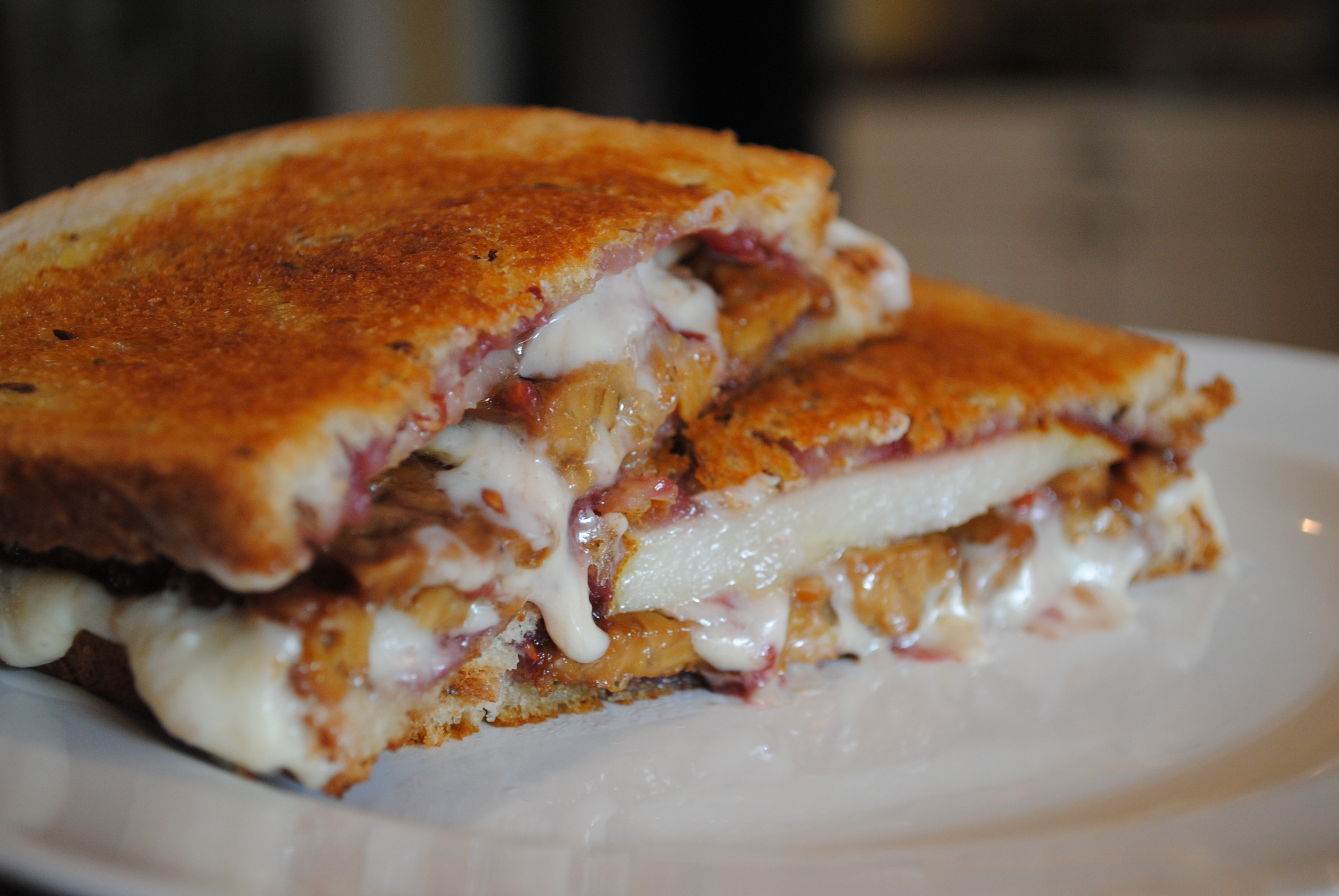 Vegan Pear, Tempeh Bacon, Raspberry Grilled Cheese Sandwich
