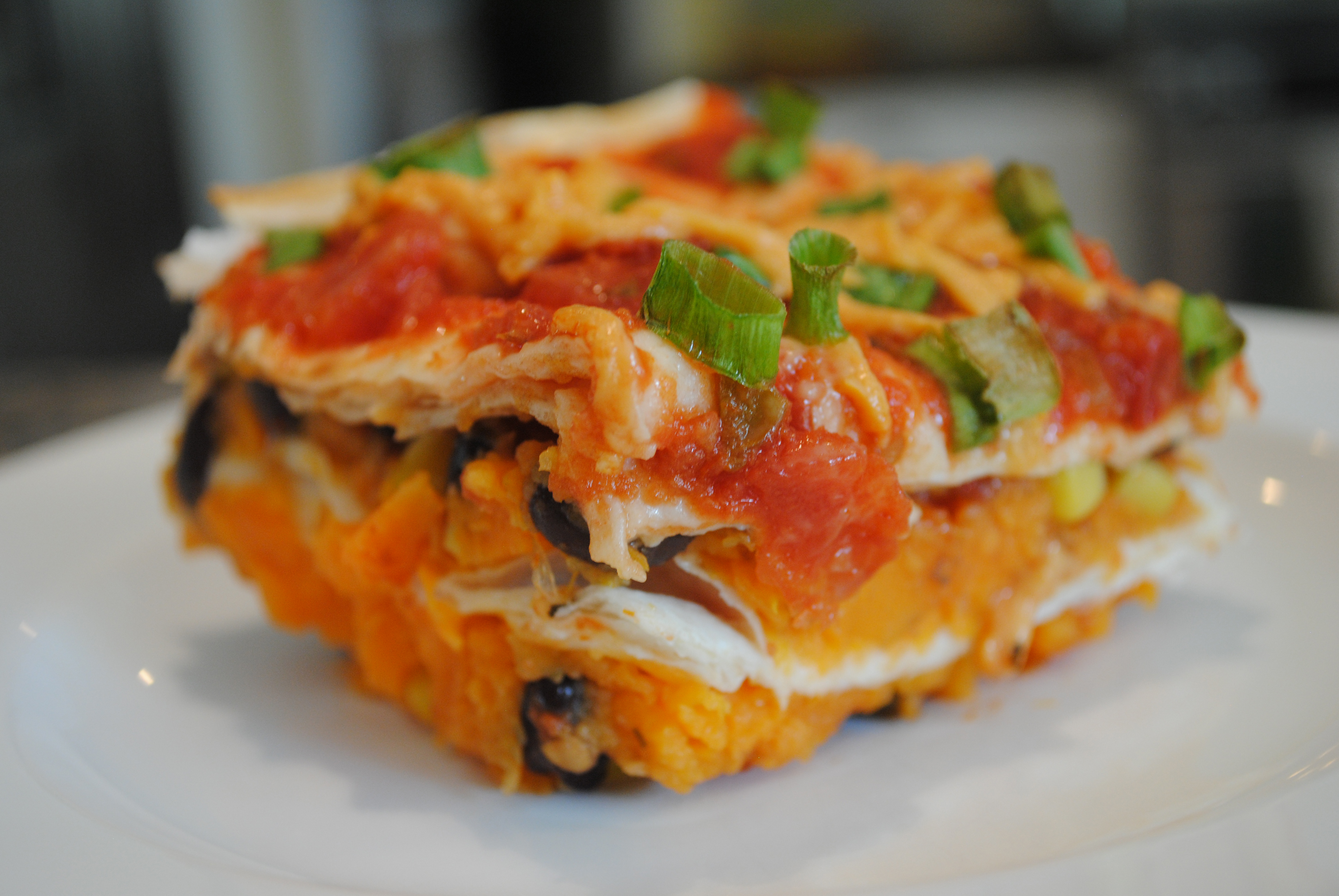 Vegan Layered Sweet Potato Enchilada Casserole