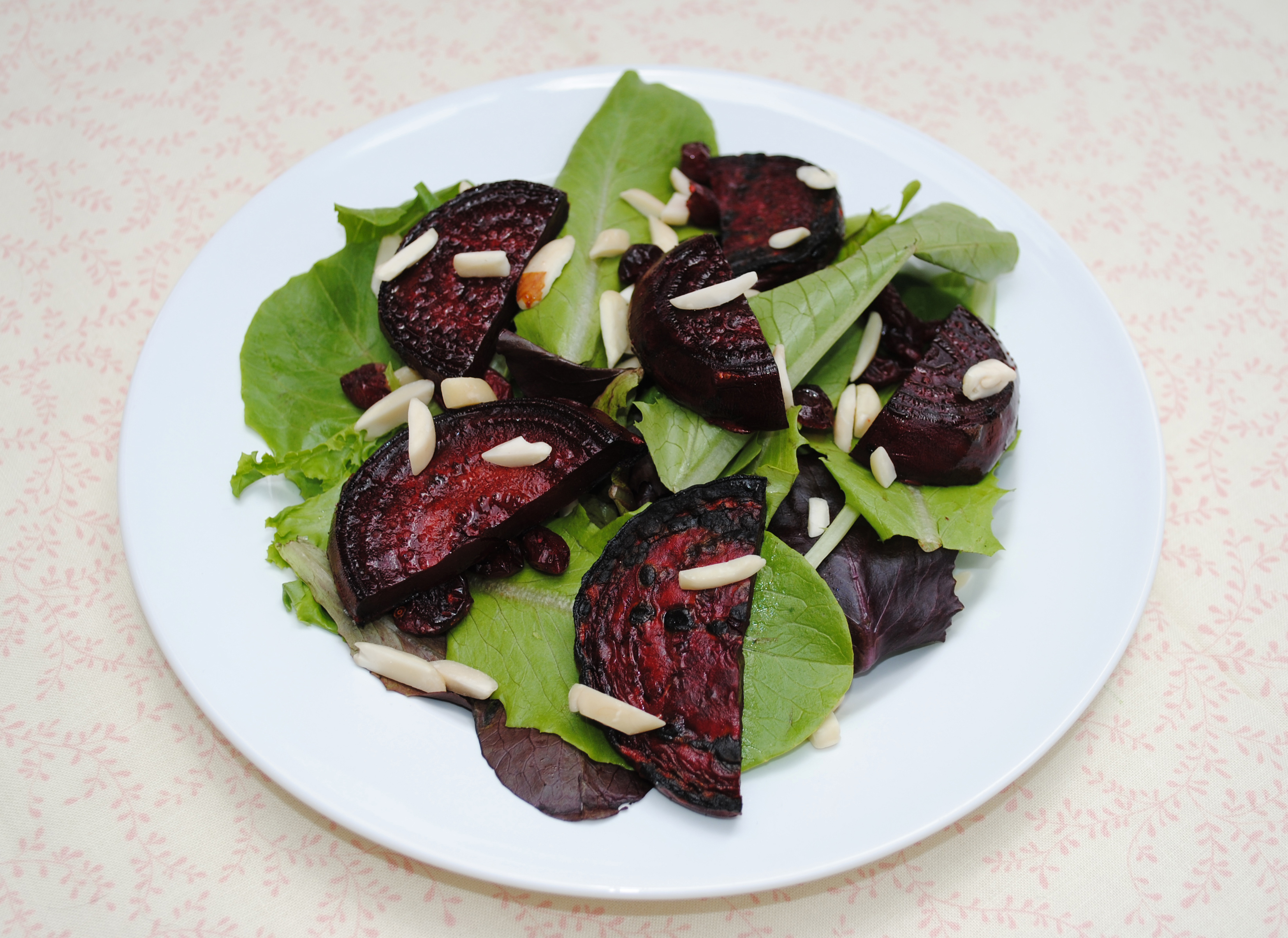 Grilled Beet Salad with Almonds and Dried Cranberries