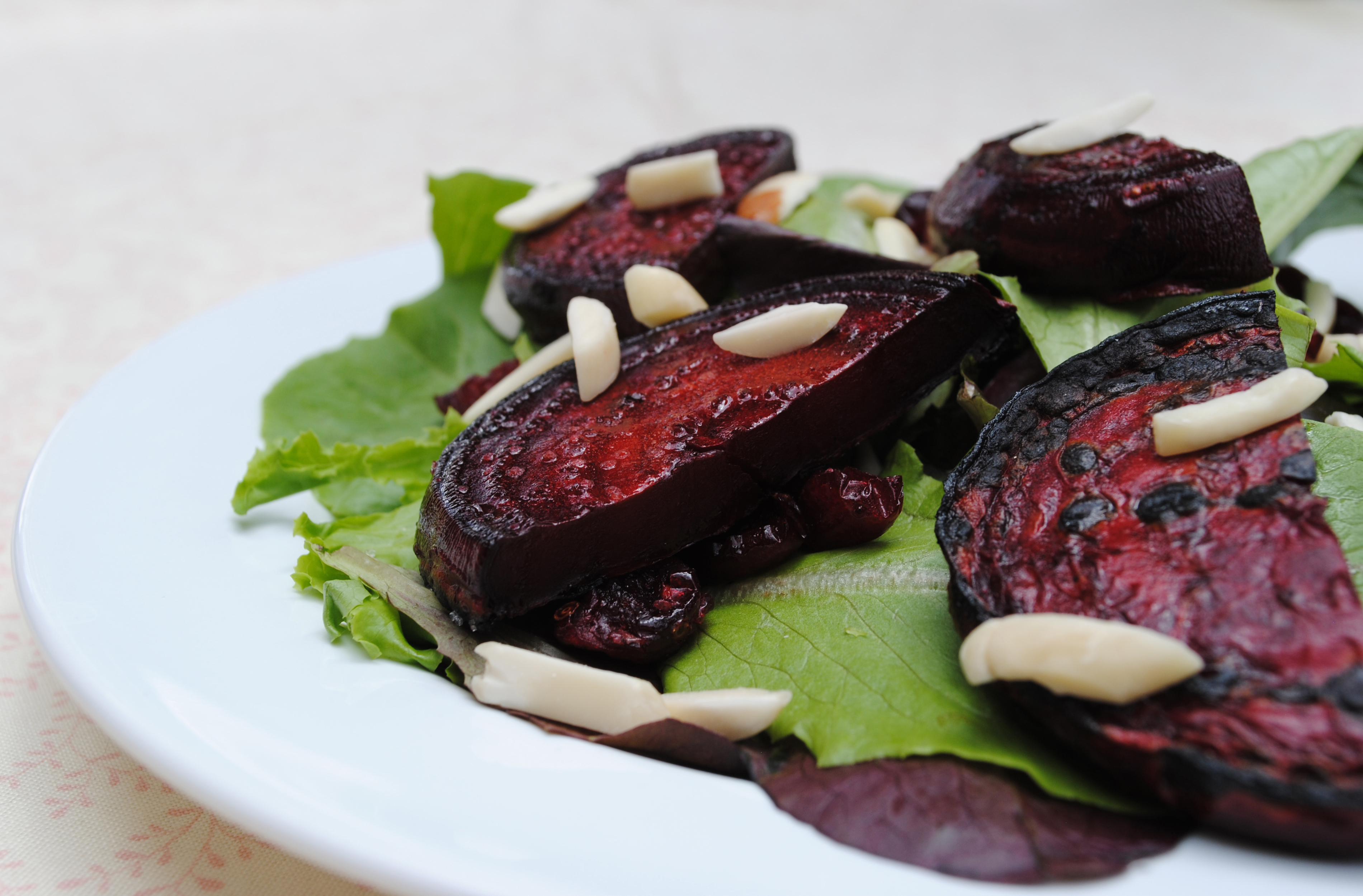 Vegan Grilled Beet Salad with Almonds and Dried Cranberries