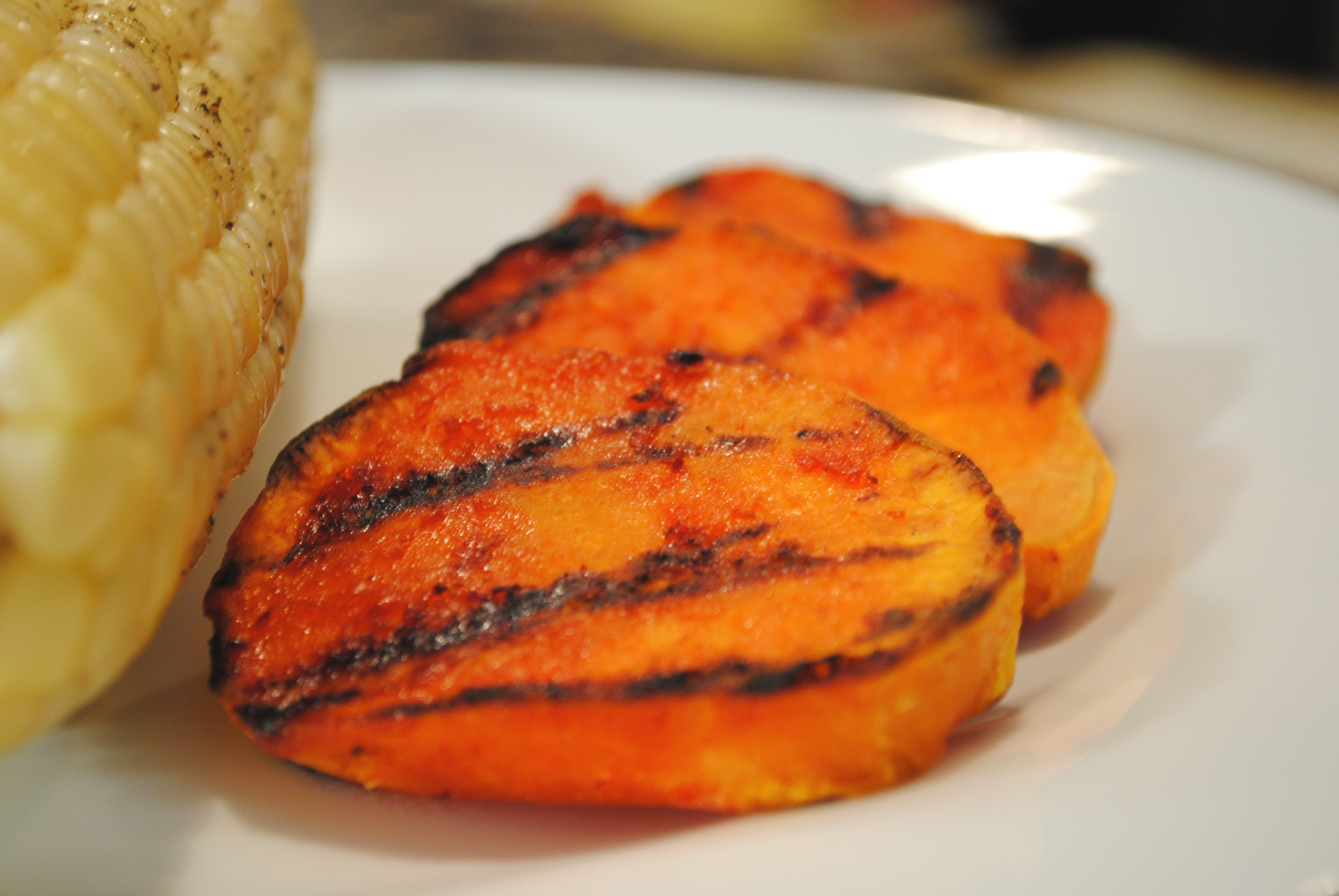 Grilled Sriracha Sweet Potatoes
