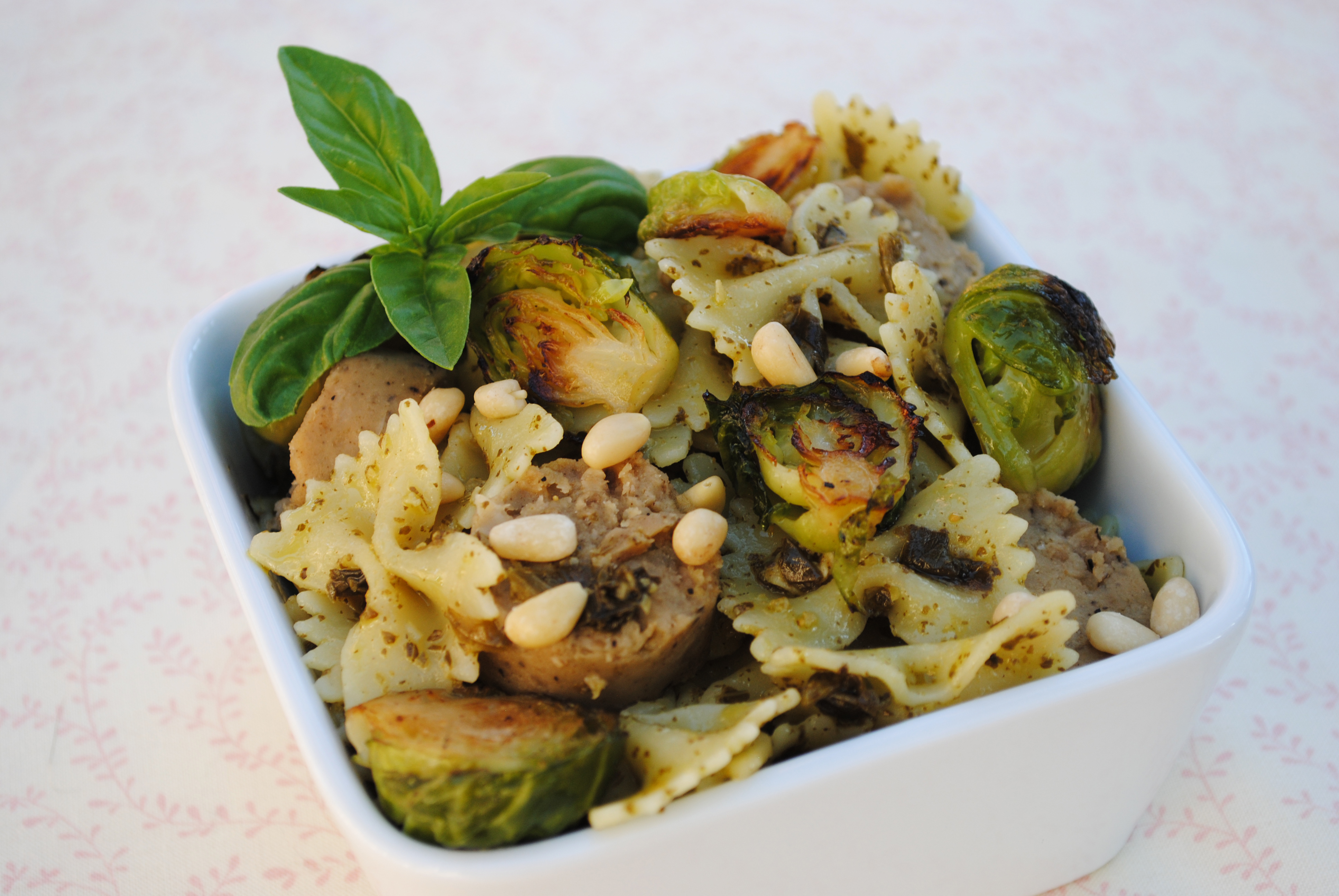 Vegan Pesto Pasta with Vegan Sausage and Grilled Brussels Sprouts