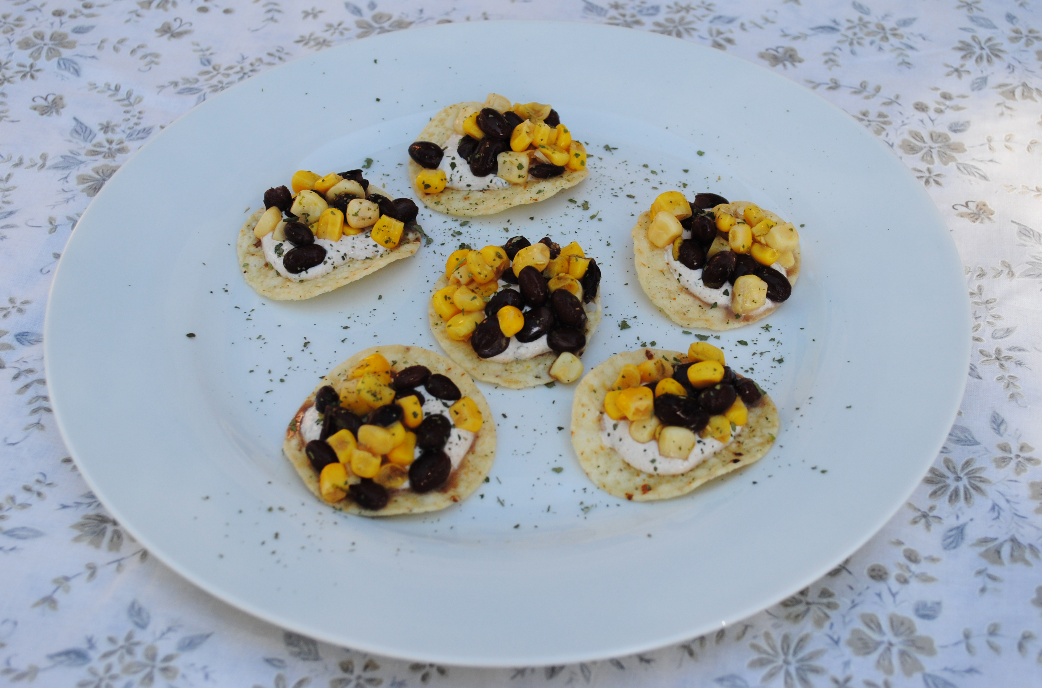 Vegan Tortilla Chips with Black Beans, Corn and Spicy Cilantro Cream
