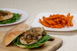 Vegan Chicken Sandwich with Sauteed Mushrooms