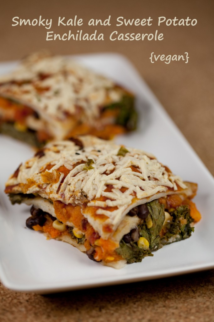 Smoky Kale and Sweet Potato Enchilada Casserole #vegan