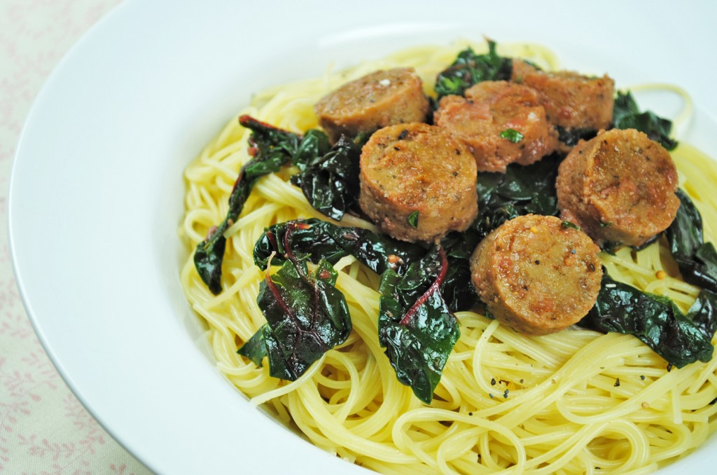 Swiss chard pasta with Field Roast sausage #vegan