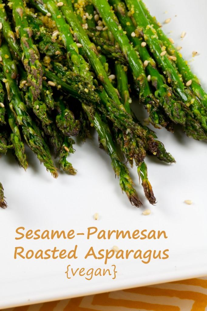 Vegan Sesame Parmesan Roasted Asparagus