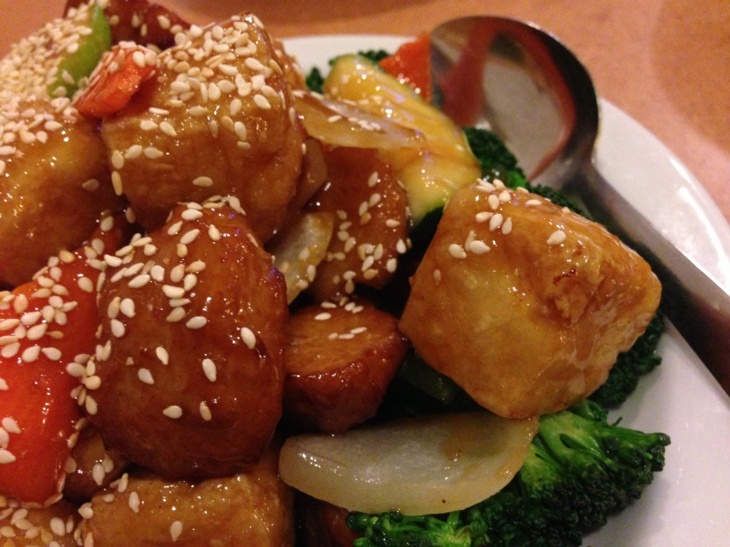 "Sesame ""chicken"" with tofu"