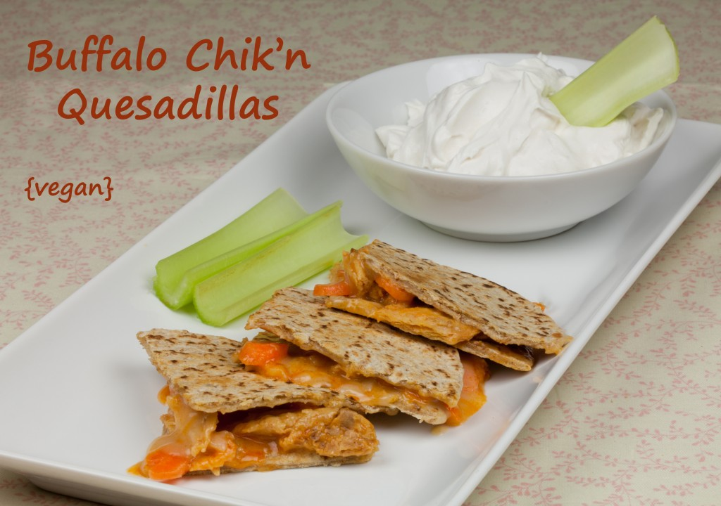 Vegan Buffalo Chicken Quesadillas