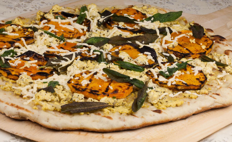 Vegan pizza with butternut squash