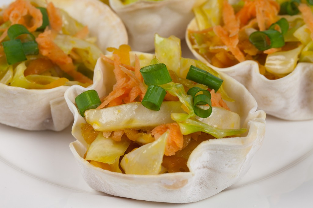 Sweet Vegan Potato Slaw in Wonton Cups