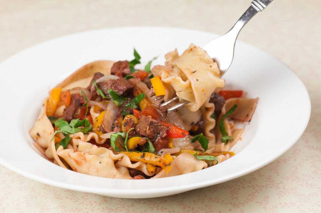 Vegan Spicy Drunken Noodles with Italian Sausage