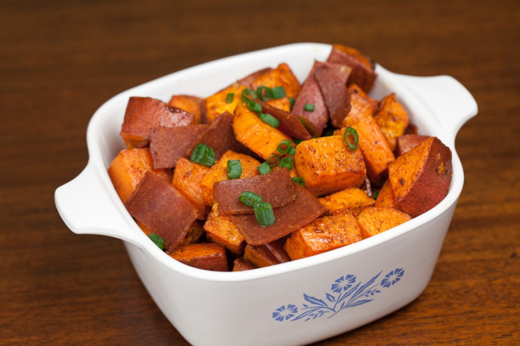 Vegan Maple Bacon Sweet Potatoes | www.thatwasvegan.com