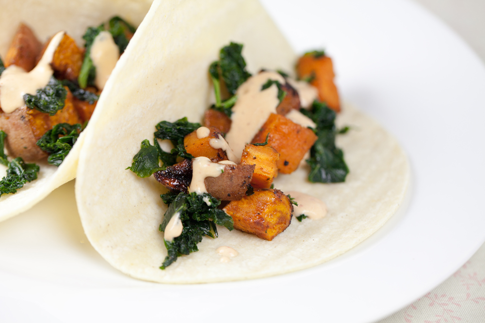 Maple Bacon Sweet Potato Tacos w/ a Spicy Cream Sauce | www.thatwasvegan.com