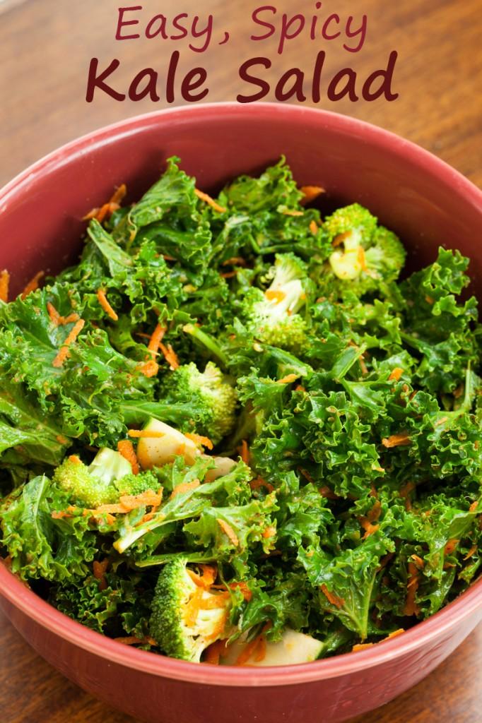 Easy Spicy Kale Salad | www.thatwasvegan.com