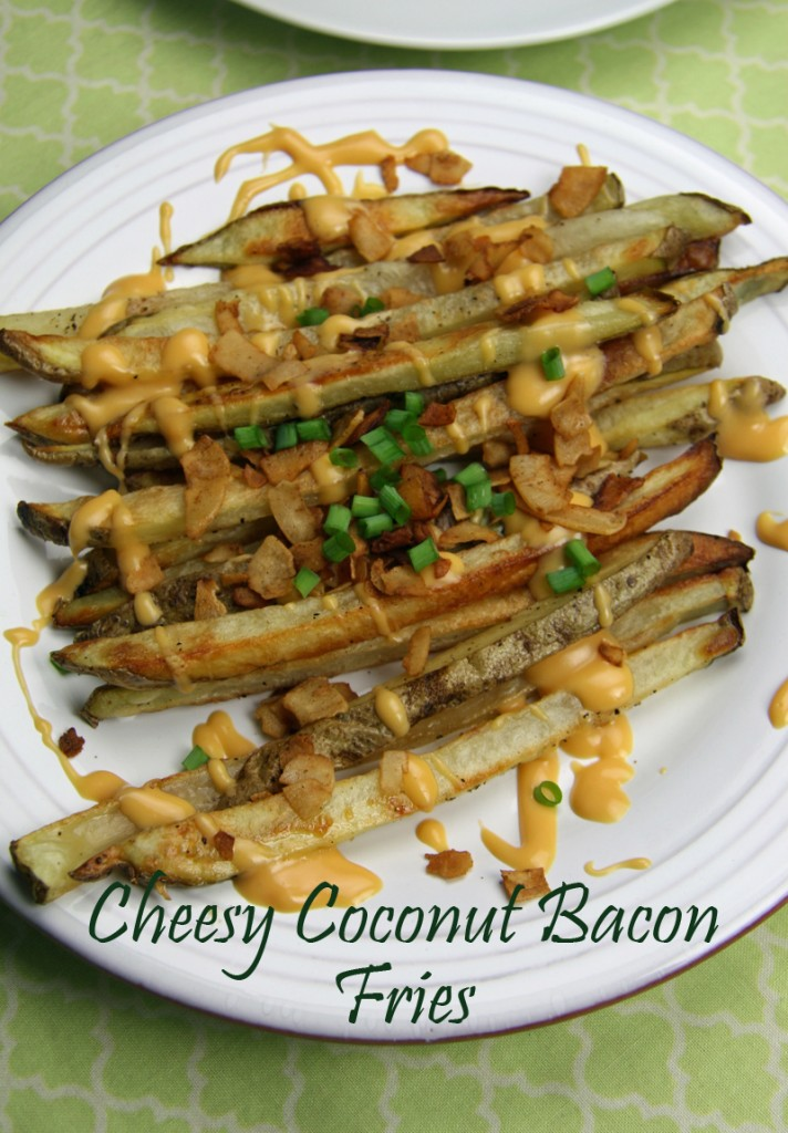 Cheesy Coconut Bacon Fries | www.thatwasvegan.com