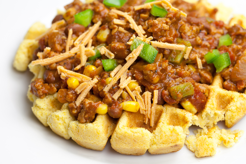 Cornbread Waffles Smothered in Spicy Chili