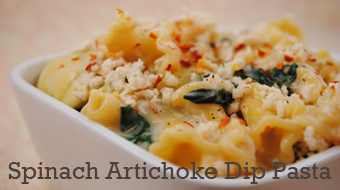 sidebar_spinach artichoke dip pasta