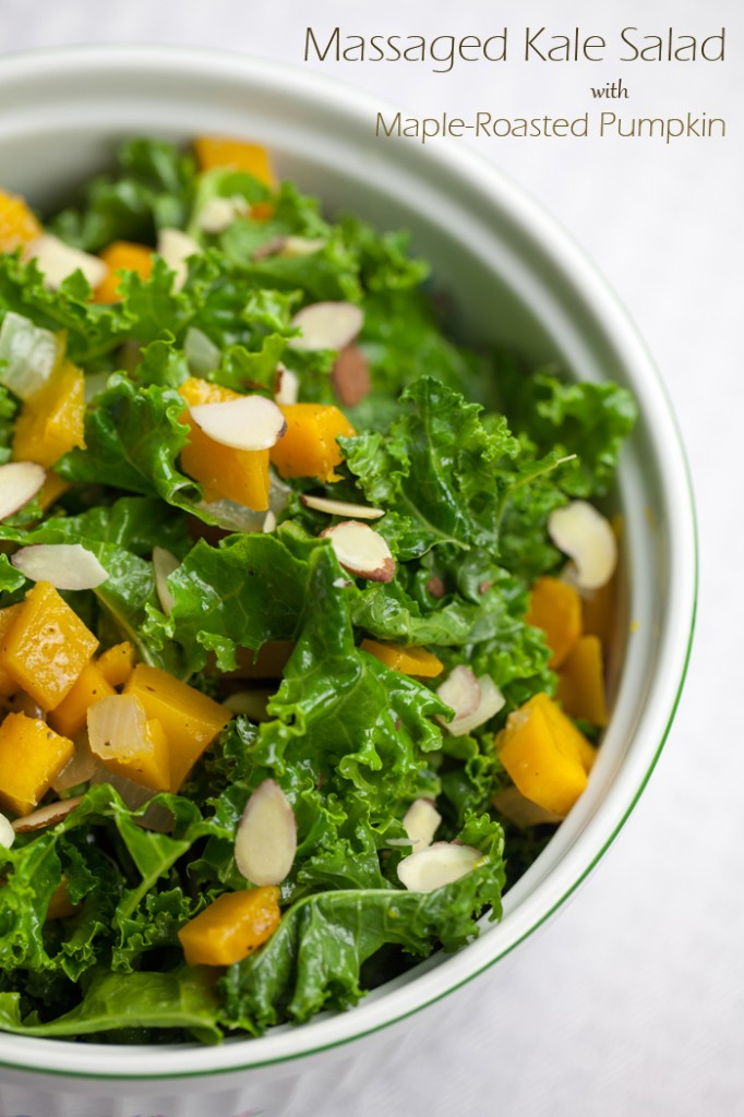 Massaged Kale Salad with Maple Roasted Pumpkin | www.thatwasvegan.com