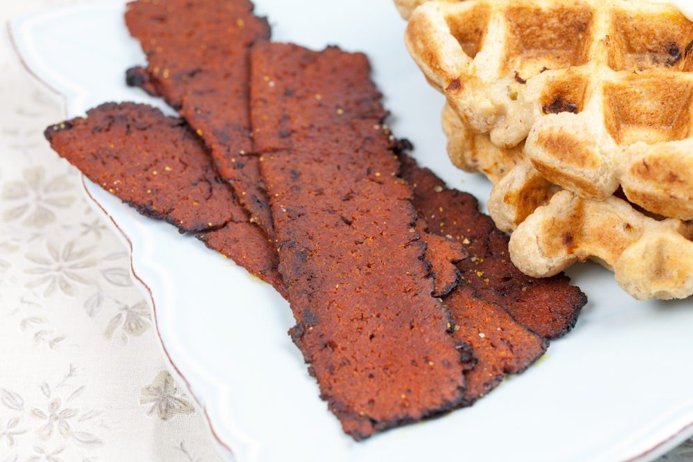 Cinnamon Waffles and Sweet Earth Bacon | www.thatwasvegan.com