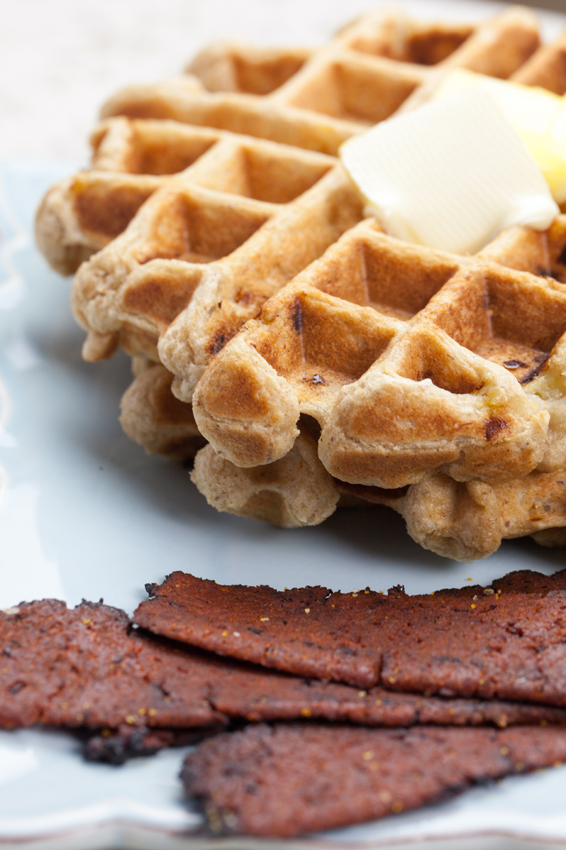 Cinnamon Waffles and Sweet Earth Bacon