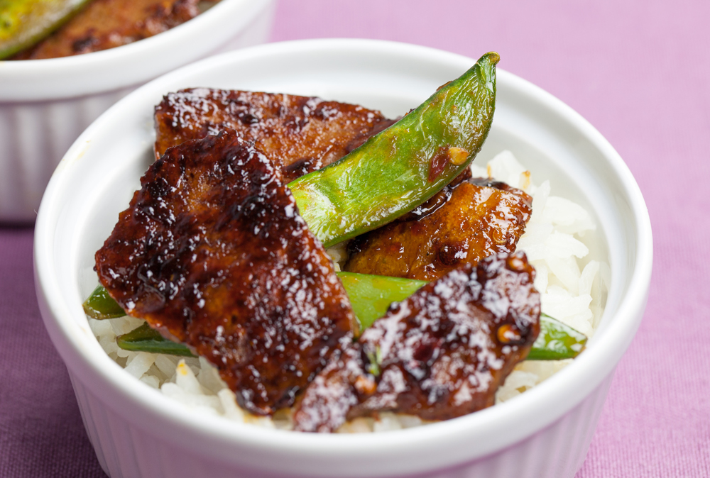 Korean BBQ Seitan with Sugar Snap Peas and Coconut Rice | www.thatwasvegan.com