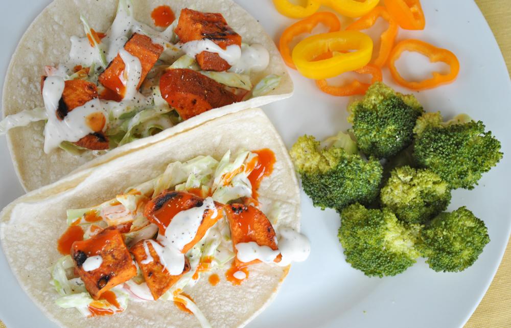 Buffalo Ranch Sweet Potato Tacos | www.thatwasvegan.com
