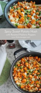 Spicy Sweet Potato Hash with Roasted Poblano- And easy breakfast or brunch that's full of flavor! www.thatwasvegan.com