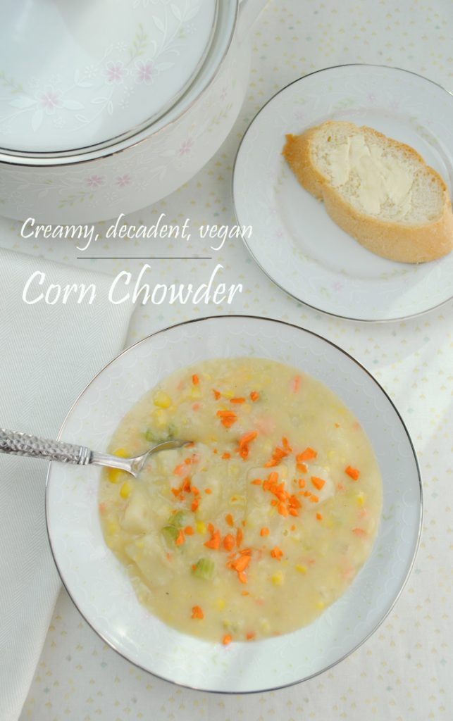 Thick, creamy, delicious corn chowder from www.thatwasvegan.com