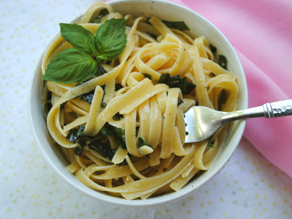 Lemon Basil Buttered Noodles - Vegan, delicious, and easy!